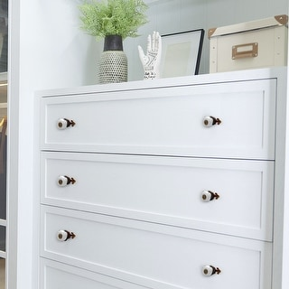 Ceramic Vintage Knobs Drawer Pull Handle Cupboard Wardrobe Dresser 6pcs White
