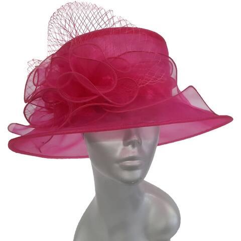Women's organza packable dressy Hat Fuchsia