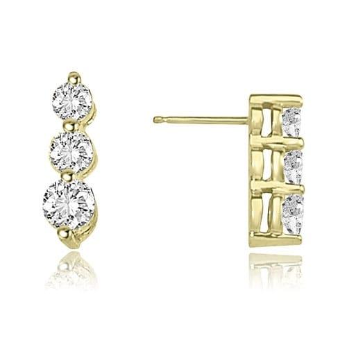 1.00 cttw. 14K Yellow Gold Three-Stone Round Cut Diamond Earrings - White H-I