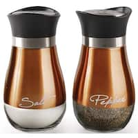 Palais Glassware Loire Collection, Elegant Designed Salt and Pepper Shakers - Set of 2, Copper and Glass
