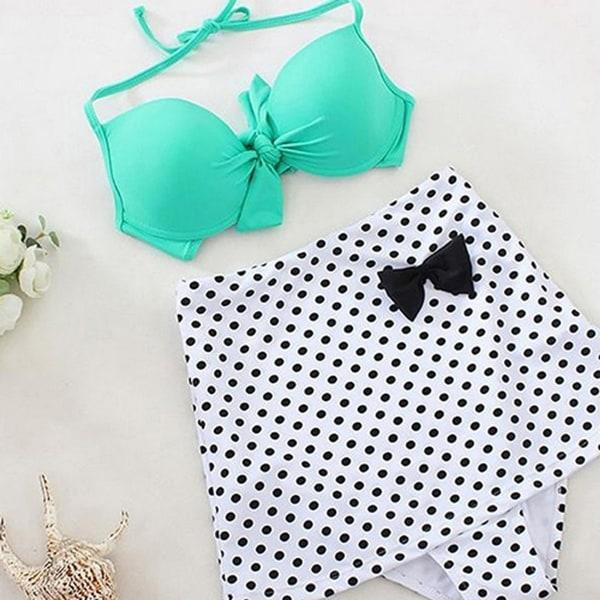 Women  x27 s High Waist Two Pieces Bikini Set Bra Polka Dot Panties Swimsuit f9451c9e2