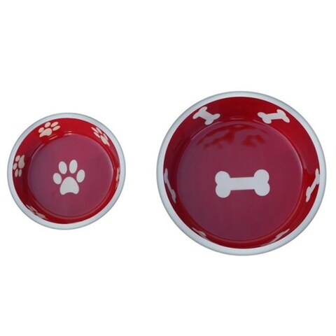 Super Max 800321 Small Cat or Dog Bowls, Red - Set of 2