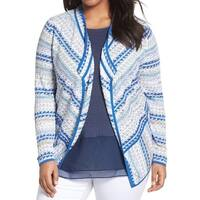 Nic + Zoe Blue Womens Size 1X Plus Geometric Knit Cardigan Sweater