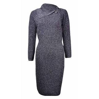 Calvin Klein Women's Metallic Safety Pin Collar Sweater Dress