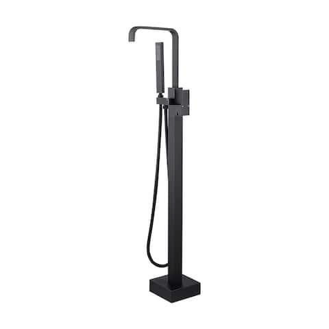 Matte Black Floor Mount Tub Filler Waterfall Freestanding Bathtub Faucet Copper Tap Single Handle with Handheld Shower