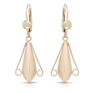 Mcs Jewelry Inc 10 KARAT YELLOW GOLD DANGLING HIGH POLISHED EARRINGS (42MM)