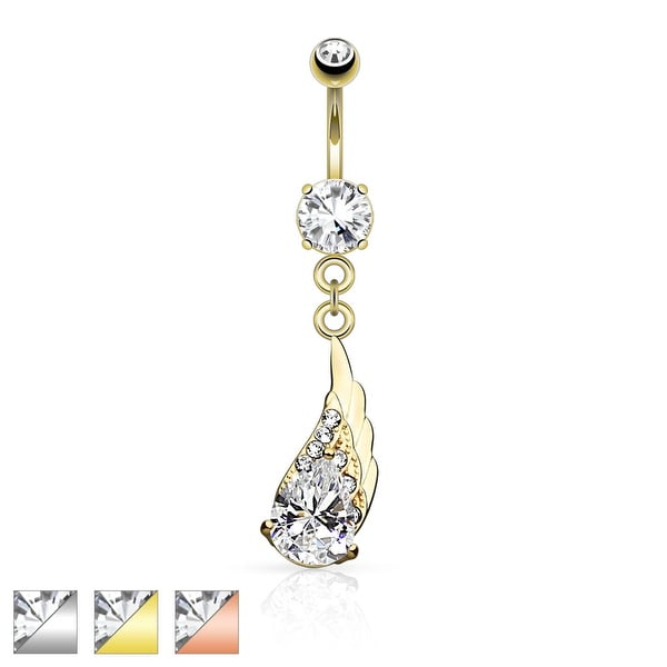 Angel Wing Dangle with Center CZ Navel Ring