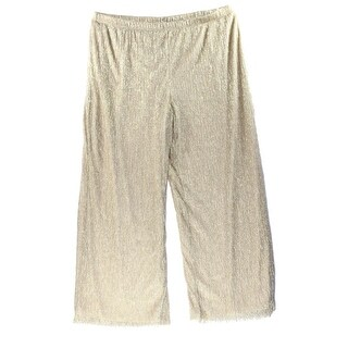 MSK NEW Beige Women's Size 1X Plus Crinkled Metallic Wide Leg Pants