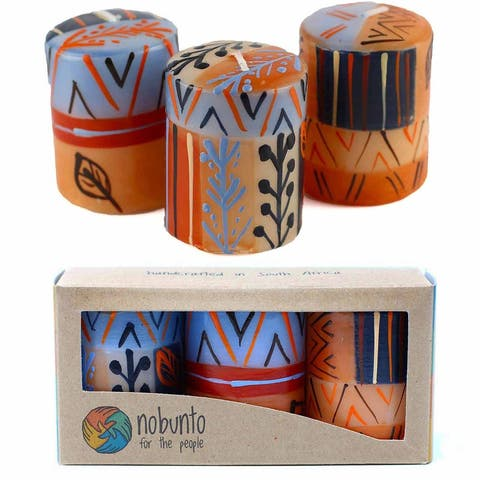 """Hand Painted Votive Candles in """"Uzushi"""" Design (Box of 3)"""