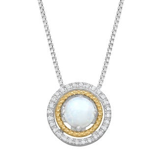 1/2 ct Opal Concentric Circle Pendant with Diamonds in Sterling Silver & 14K Yellow Gold - White