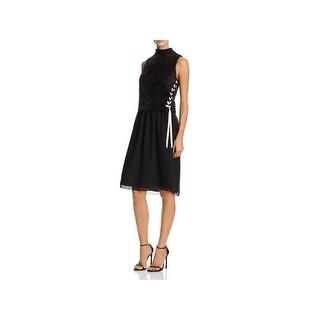 Nic + Zoe Womens Dress With Vest Faux Fur Knee-Length