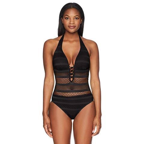 Bleu Rod Beattie Women's Sheer Thing One-Piece Swimsuit, Halter Black, 4