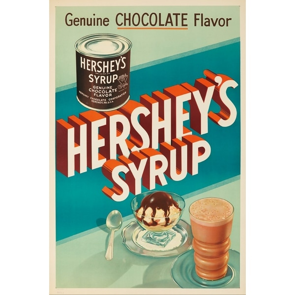 USA - Hershey's Syrup - (c. 1935) - Vintage Ad (100% Cotton Towel Absorbent)
