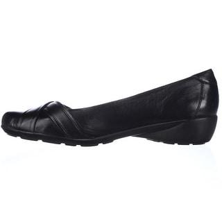 Naturalizer Womens Nariko Leather Round Toe Slide Flats, Black, Size 8.0