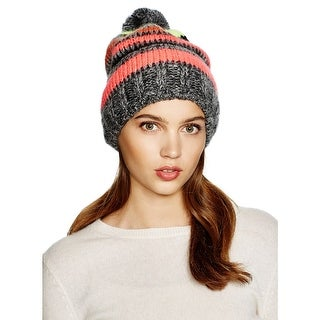 Aqua Ladies Black Grey Pink Multi-Striped Beanie With Pom Pom Made In Italy