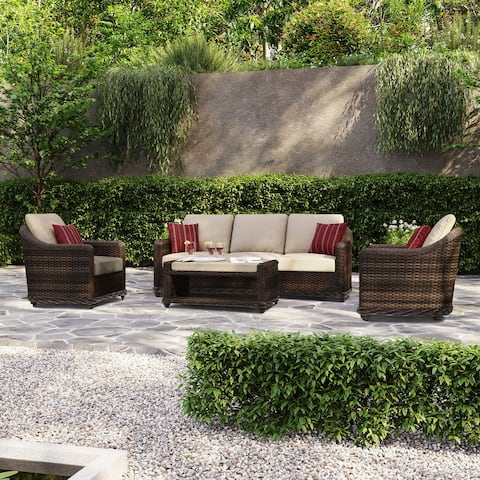Ove Decors Chester 4-Piece Outdoor Conversation Set in Light Brown