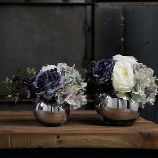 G Home Collection Luxury Blue White Rose and Hydrangea Flower Arrangement