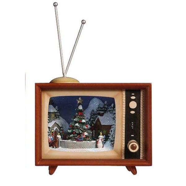 """Pack of 2 Icy Crystal Illuminated Musical Christmas TV Box Figurines 9"""" - brown"""