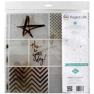 "Heidi Swapp -Gold Foil W/Stickers - Project Life Photo Pocket Pages 12""X12"" 12Pk"