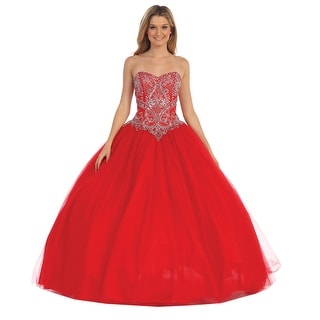Strapless Embellished Ball Gown