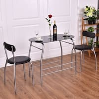 Costway Tempered Glass Table Top 3 PC Dining Set Furniture