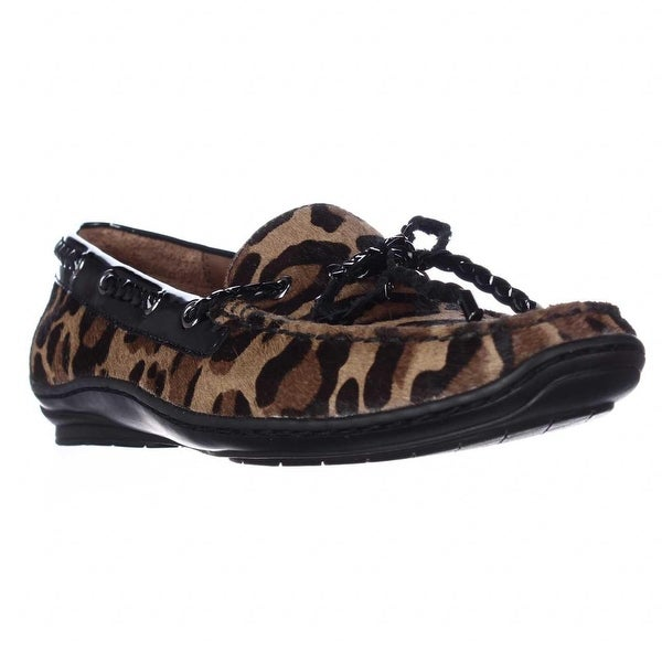 Donald J Pliner Lacey Square Toe Loafers, Natural Black Leopard