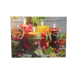 "LED Lighted Bountiful Autumn Harvest Thanksgiving Canvas Wall Art 12"" x 15.75"" - N/A"