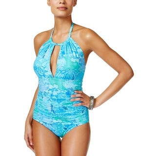 Ralph Lauren Floral Keyhole Ruched Womens One-Piece Swimsuit Blue Size 8