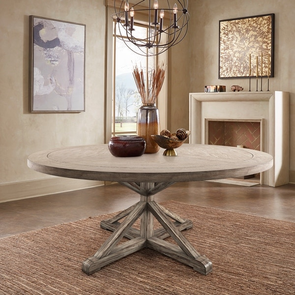 Benchwright Antique Grey Oak Round Dining Table by iNSPIRE Q Artisan. Opens flyout.