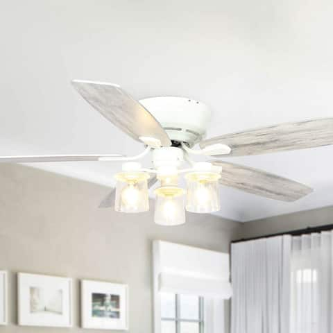 """Farmhouse 52"""" Wood 5-Blade Low Profile Ceiling Fan with Remote"""