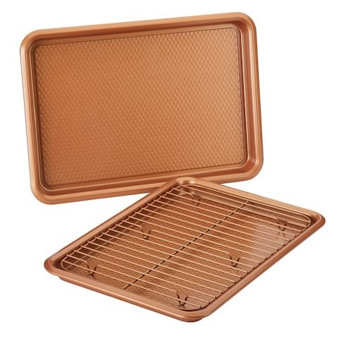 Ayesha Bakeware Double Batch Cookie Pan and Cooling Rack Set, Copper