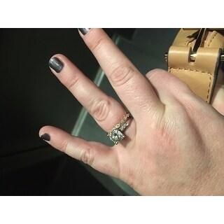 Annello by Kobelli 14k Gold 1/3ct TDW Stackable Vintage Milgrain Pattern Eternity Diamond Ring