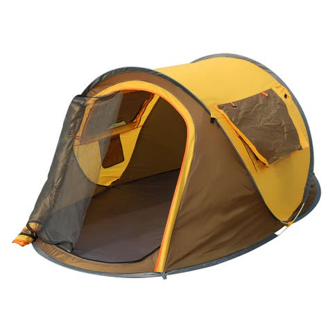 Water Resistant Pop Up Automatic Tent 3-4 Person Coffee Color 245 x 150 x 105cm