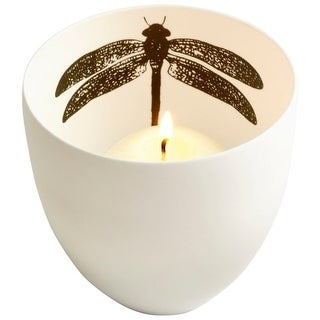 """Cyan Design 8499 LeBlanc 3"""" Tall Ceramic Votive Candle-Holder with Dragonfly Accent"""