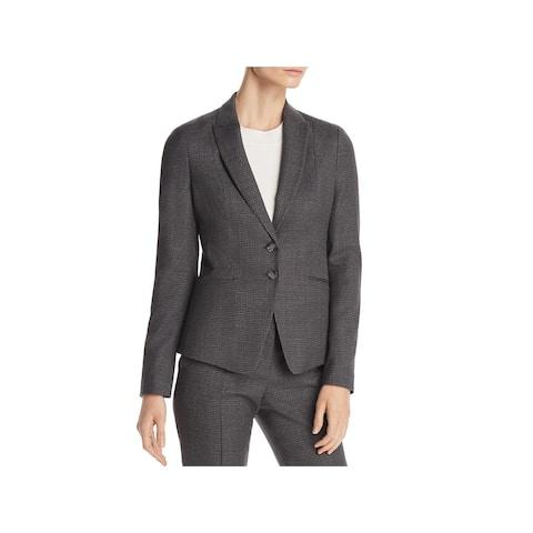 BOSS Hugo Boss Womens Jibena Two-Button Blazer Plaid Professional