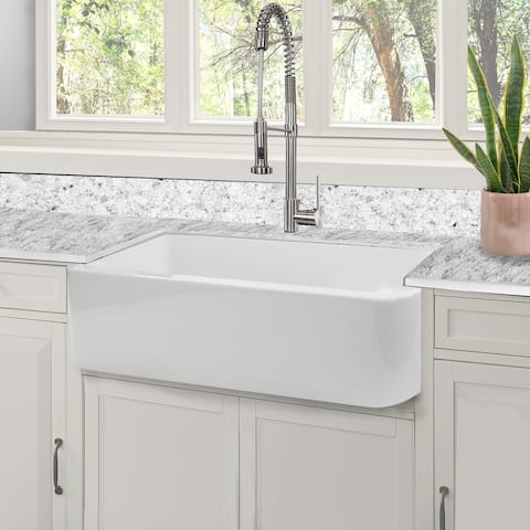 Highpoint Collection 31-inch Fireclay White Farmhouse Kitchen Sink - 31 x 18 x 8.75 inches