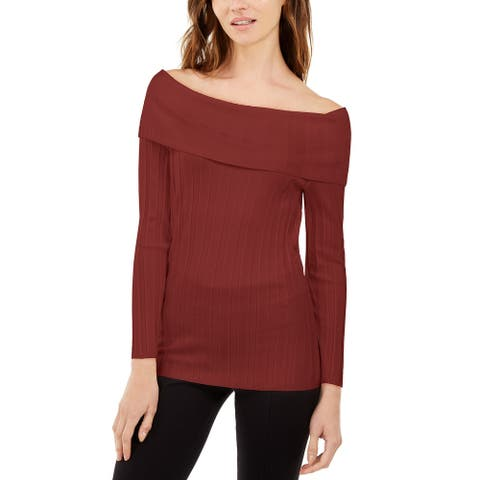 INC International Concepts Women's Off-The-Shoulder Ribbed Sweater Red Size XX_Large - XX-Large
