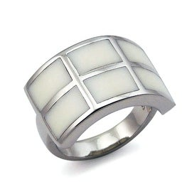 Stainless Steel Women's Ring with White Resin Inlay (Sizes 5-9)