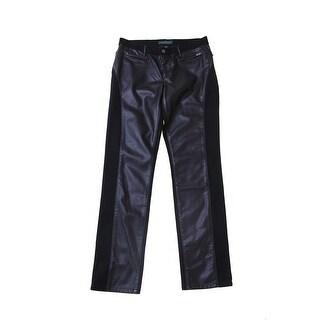 Lauren Jeans Co. Black Faux-Leather Paneled Manhattan Jeans