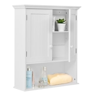 Costway Wall Mount Bathroom Cabinet Storage Organizer Medicine Cabinet Kitchen Laundry