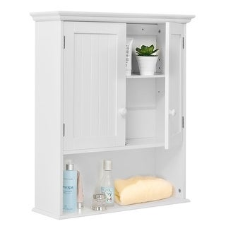 Costway Wall Mount Bathroom Cabinet Storage Organizer Medicine Cabinet Kitchen Laundry  sc 1 st  Overstock.com : bathroom storage cupboard  - Aquiesqueretaro.Com
