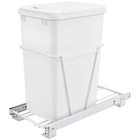 Rev-A-Shelf RV-12PB RV Series Bottom Mount Single Bin Trash Can with - White