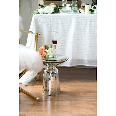 A&B Home Antique Polished Silver 14-side Laurel Pattern Side Table