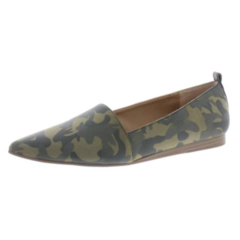 Lucky Brand Womens Beechmer Pointed Toe Flats Slip On Pointed Toe - Military Green/Reina Camo - 10 Medium (B,M)