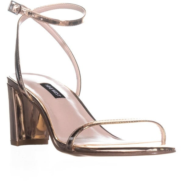 Nine West Provein Ankle Strap Block Heel Sandals, Pink - 5.5 us