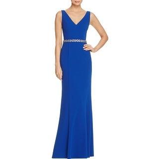 JS Collections Womens Evening Dress Beaded Waist Cut Out Back