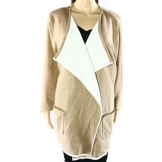 Alfani NEW Beige Womens Size XL Open Front Long Sleeve 2 Pocket Coat