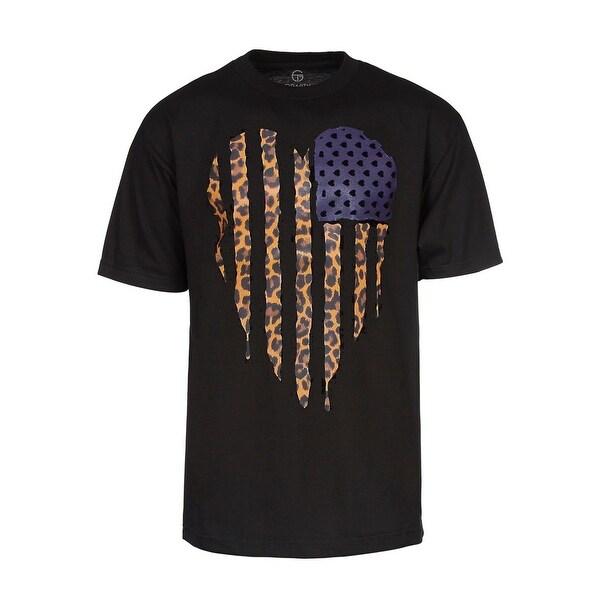 Mens Black Short-Sleeve Leopard Flag Heart T-Shirt