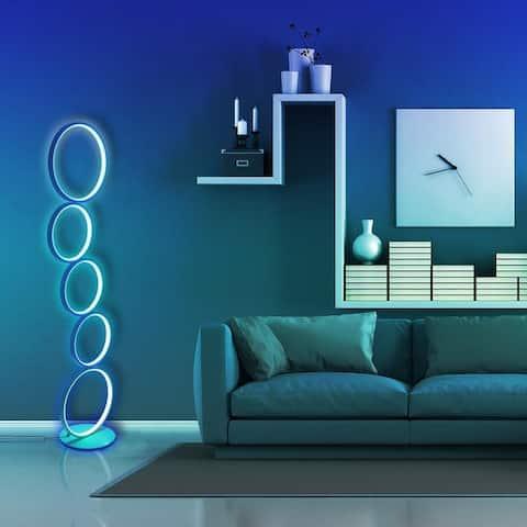 "43"" White RGB LED Circular Floor Lamp Ring Standing Lamp - N/A"