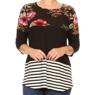 Women Plus Size Print Solid Striped Block Long Body T-Shirt Black